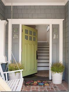 avocado green front door