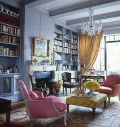 . love the pink chairs and yellow ottoman