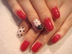 Red and black & white polka dot nails