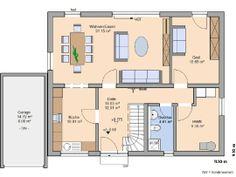 Grundriss Erdgeschoss - Garage auf die andere Seite mit Zugang zum HWR, Wohnzimmer evtl. etwas größer, Gästezimmer = Büro/Bibliothek und mit Tür zum WZ