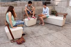 urban furniture series by spanish studio cenlitrosmetrocadrado. developed as part of 'noia intramuros'.