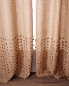 "Each 96""L Button-Detailed Burlap Curtain  at Neiman Marcus."