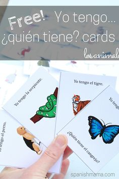 Free printable I have...who has?/ Yo tengo...¿quién tiene? for learning los animales in Spanish. Includes 36 animals. This is a great way to practice new vocabulary and have students practice speaking out loud!