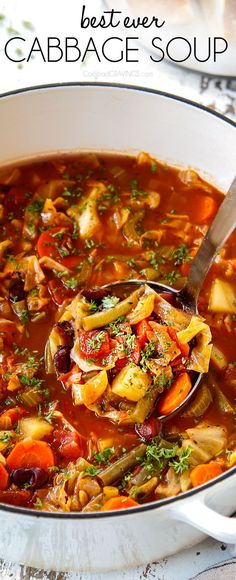 The BEST Cabbage Soup recipe loaded with nutritious veggies swimming in dynamic Italian spiced tomato broth It s healthy hearty comforting and extremely versatile with TONS of options in the post like how to add protein pasta or rice via carlsbadcraving Cabbage Soup Recipes, Easy Soup Recipes, Vegetarian Recipes, Dinner Recipes, Healthy Recipes, Stuff Cabbage Soup, Soup With Cabbage, Crockpot Cabbage Soup, Cabbage Soup Diet