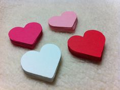 Paper Piece Set of Valentine by SimplyHandmadebyRina Die Cut Paper, Scrapbook Embellishments, Paper Hearts, Homemade Cards, Cupcake Toppers, Mini Albums, Red And White, Valentines Day, Pink