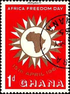 Ghana.  MAP OF AFRICA IN SUN.  AFRICA FREEDOM DAY, April 15.  Scott  135 A43, Issued 1963 Apr 15,  Photo, 1. /ldb.