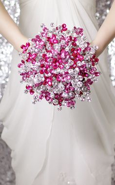 Pink and Silver Bridal Bouquet by Bridal Bouquets by Ky