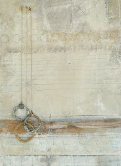 Floating to the bottom~ mixed media, ceramic and found objects on board  ~Brenda Holzke