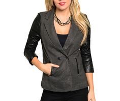 PINCHECK LEATHER SLEEVE BLAZER | Embelle Boutique