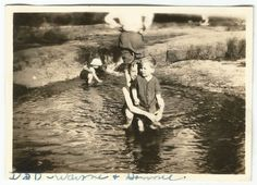 YOUNG BOYS AT SWIMMING HOLE w/HEADLESS MAN OLD/VINTAGE PHOTO-SNAPSHOT s3131