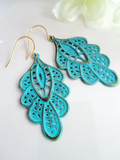 Turquoise Earrings Teal Patina Ruffled Leaf by Redpeonycreations, $19.50