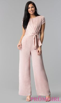 Sleeved Wide-Leg Wedding-Guest Jumpsuit - PromGirl Source by outfit for women Semi Formal Outfits For Women Wedding, Jumpsuit Formal Wedding, Dress Wedding, Wedding Guest Attire, Wedding List, September Wedding Guest Outfits, Look Fashion, Fashion Outfits, Bar Outfits
