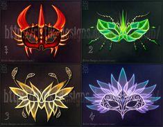 Halloween masks adopts 1 (CLOSED) by Rittik-Designs on DeviantArt Anime Weapons, Fantasy Weapons, Fantasy Jewelry, Fantasy Art, Mascara Anime, Magical Jewelry, Weapon Concept Art, Fantasy Costumes, Magic Art
