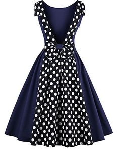 Tempt me 1950s Plus Size Vintage Dress Polka Dot Rockabilly Swing Cocktail Dress with Backless Bownot Blue Small *** Continue to the product at the image link.