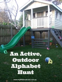 Outdoor Alphabet Hunt - great idea.  Find the letters, then read the alphabet book, each student holds up their letter ;)