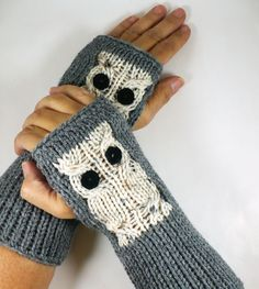 Knit Fingerless Gloves Knit Arm Warmers Fingerless Mittens Knit Hand Warmers Gauntlets Wrist Warmers Cream Fleck Snow Owl On Grey. $27.50, via Etsy.
