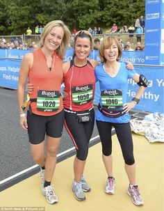 On the start line: BBC News presenters Sophie Raworth, Susanna Reid and Sian Williams are all smiles before the race,  Working marathon chic with painted nails. I love you, girls.