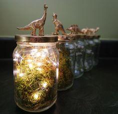 dinosaur jar centerpiece DIY