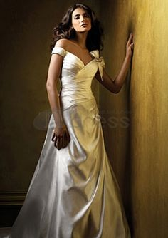 A-Line V-neck Chapel Train Chiffon Charmeuse Bridal Dresses