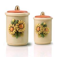 "Set di barattoli in ceramica egan ""girasoli"""