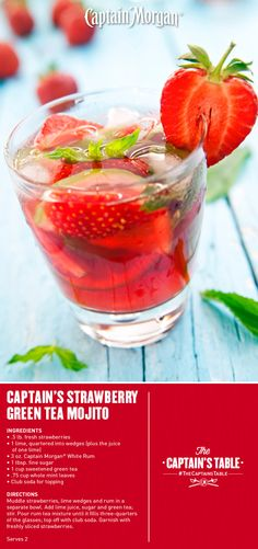 Captain's Strawberry Green Tea Mojito: A refreshing blend of fruit and herbs make this the perfect spring tea cocktail. #drink #recipe #CaptainMorgan #Captain #Morgan #CaptainsTable #rum