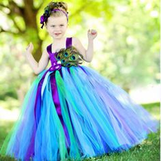 ==> [Free Shipping] Buy Best Girls Peacock Tutu Dress With Feather Long Handmade 1-14Y Kid Party Ball Gown Flower Wedding Birthday Halloween Costume Vestidos Online with LOWEST Price | 32806027108