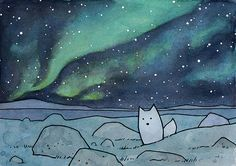 Northern Lights 11x14 Illustration Print with Fox by studiotuesday, $40.00