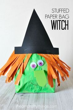 This stuffed paper bag witch craft makes a fun Halloween kids craft, fall craft for kids, preschool Halloween craft and elementary age…