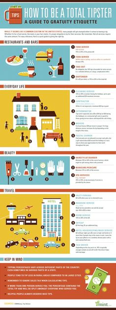 This Tipping Guide And You'll Never Look Cheap Again How to Be a Total Tipster - A Guide to Gratuity EtiquetteHow to Be a Total Tipster - A Guide to Gratuity Etiquette Things To Know, Things To Come, Etiquette And Manners, Hotel Services, Home Schooling, Bartender, Personal Finance, Helpful Hints, Teaching