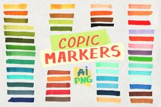 Copic marker brushes AI strokes PNG