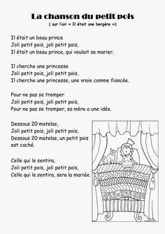 Comptine #29 La chanson du petit pois en MS Princess And The Pea, Prince And Princess, Château Fort, Nursery Rhymes, Back To School, Fairy Tales, Homeschool, Songs, Reading