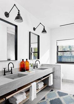 Black plumbing hardware, black pendant light, grey cement vanity. Yes yes yes.