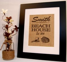 Beach House Beach Home Sign Burlap Sign Home by BusyBeeBurlap