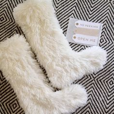 Fabulous furry stockings with matching gift tags. We're ready for gifting.