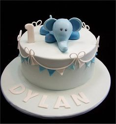 Cute baby elephant cake for a one-year-old.