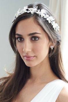 Bridal Headbands · Bridal headband features brushed petals accented with  hand-wired branches of rhinestones a0078ab1afa1