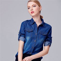 New Fashion Outwear Full Sleeve Turn down Collar Coat Single Breasted Jacket With Button Denium Streetwear 71824-in Basic Jackets from Women's Clothing & Accessories on Aliexpress.com | Alibaba Group