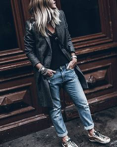 Checks Tuesday look - hiding from the rain! #sezane #goldengoose #revolveme Clothing, Shoes & Jewelry - Women - women's jeans - http://amzn.to/2jzIjoE