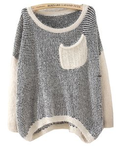 Black Long Sleeve Striped Pockets Knit Sweater US$30.98