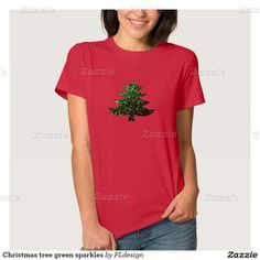 Christmas tree green sparkles Red Women's Shirt by #PLdesign #ChristmasSparkles #SparklesGift **you can choose between many different styles (toddlers, kids, ladies and men)**