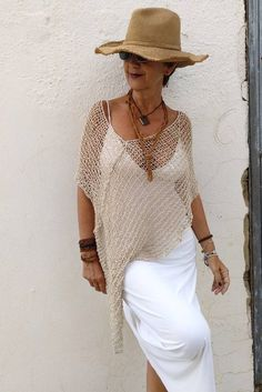 ce287fa6dae924 Boho chic clothing, summer linen and silk poncho, rustic wedding dress  cover up, neutral bohemian clothings, hippie chic poncho