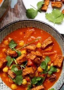 Kikkererwtencurry met tofu met Curry Madras kruiden Jonny Boer