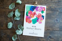 2016 calendar  abstract blooms  6 x 9  wall by StationeryBakery