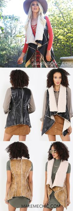 Cozy on up in this shawl collar shearling vest. This vest features soft vegan sheepskin, vegan leather, a gorgeous shawl collar, side pockets. Looking for a quick killer outfit as you're rushing out the door? Chuck this one-of-a-kind vest on top of a feminine blouse, suede skirt, and throw on some fringe booties for an upscale boho look!