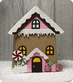 Gingerbread House gift box using Sack It Gingerbread die and Sack It To You die from Taylored Expressions