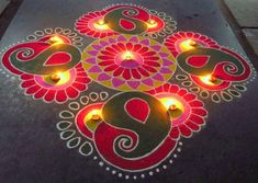 Kolam rangoli designs are made in South India. They are pretty, intricate patterns made duing festivals. Make kolam rangoli designs for Ugadi and Pongal. Rangoli Designs Simple Diwali, Happy Diwali Rangoli, Rangoli Designs Latest, Free Hand Rangoli Design, Small Rangoli Design, Colorful Rangoli Designs, Rangoli Ideas, Rangoli Designs Images, Kolam Rangoli