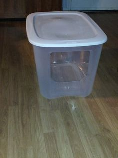 DIY jumbo litter box for big cats I bought a 110 quart clear