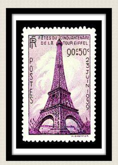Vintage Postage Stamp Print 1939 Eiffel Tower