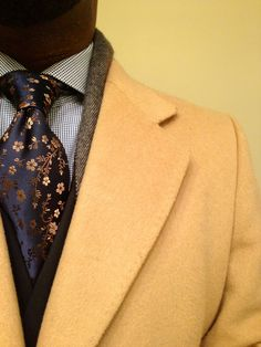 Cashmere overcoat, tweed sports jacket, micro checked dress shirt and floral navy tie