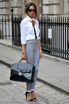 Chic and androgynous outfit...love white #shirt, I think it is perfect for working!